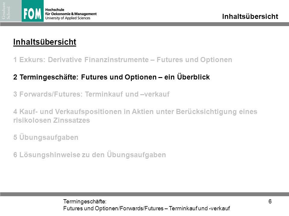 Termingeschäfte: Futures und Optionen/Forwards/Futures – Terminkauf und -verkauf 6 Inhaltsübersicht 1 Exkurs: Derivative Finanzinstrumente – Futures u