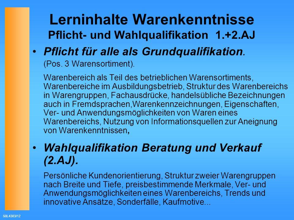 50L4383/12 Lerninhalte Warenkenntnisse Pflicht- und Wahlqualifikation 1.+2.AJ Pflicht für alle als Grundqualifikation. (Pos. 3 Warensortiment). Warenb