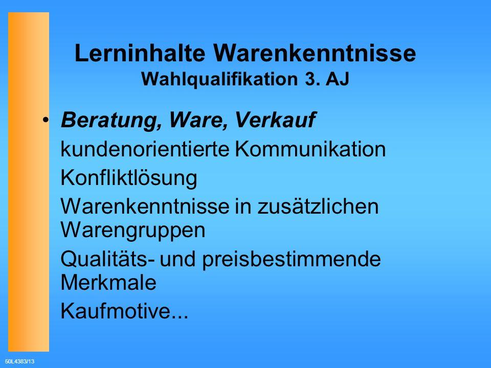 50L4383/13 Lerninhalte Warenkenntnisse Wahlqualifikation 3. AJ Beratung, Ware, Verkauf kundenorientierte Kommunikation Konfliktlösung Warenkenntnisse