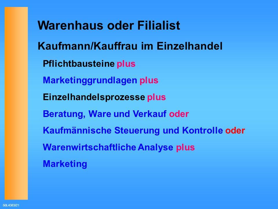 50L4383/21 Warenhaus oder Filialist Kaufmann/Kauffrau im Einzelhandel Pflichtbausteine plus Marketinggrundlagen plus Einzelhandelsprozesse plus Beratu