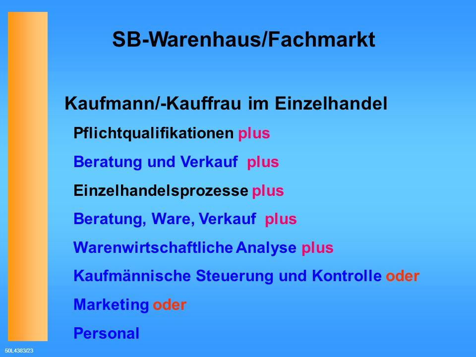 50L4383/23 SB-Warenhaus/Fachmarkt Kaufmann/-Kauffrau im Einzelhandel Pflichtqualifikationen plus Beratung und Verkauf plus Einzelhandelsprozesse plus