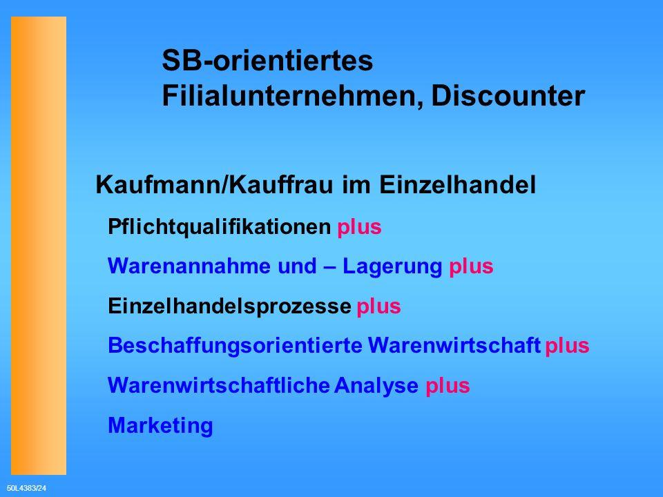 50L4383/24 SB-orientiertes Filialunternehmen, Discounter Kaufmann/Kauffrau im Einzelhandel Pflichtqualifikationen plus Warenannahme und – Lagerung plu
