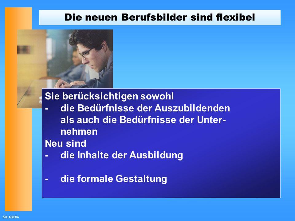 50L4383/4 Die neuen Berufsbilder sind flexibel Sie berücksichtigen sowohl - die Bedürfnisse der Auszubildenden als auch die Bedürfnisse der Unter- neh