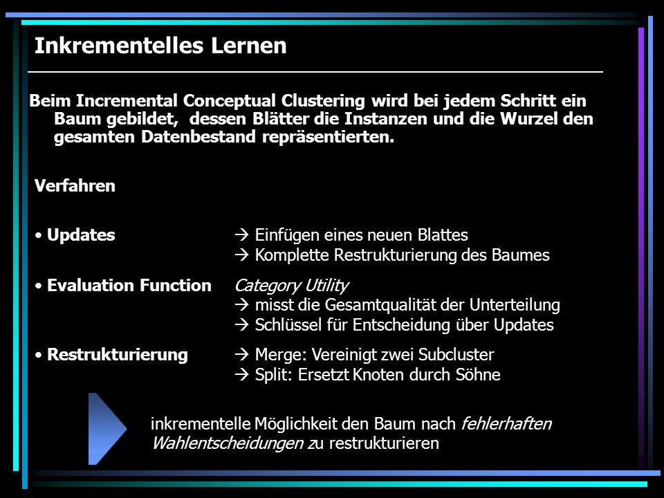 Inkrementelles Lernen Beim Incremental Conceptual Clustering wird bei jedem Schritt ein Baum gebildet, dessen Blätter die Instanzen und die Wurzel den
