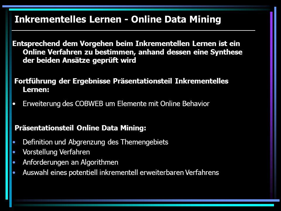 Inkrementelles Lernen - Online Data Mining Entsprechend dem Vorgehen beim Inkrementellen Lernen ist ein Online Verfahren zu bestimmen, anhand dessen e