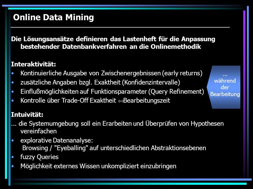 Online Data Mining Die Lösungsansätze definieren das Lastenheft für die Anpassung bestehender Datenbankverfahren an die Onlinemethodik Intuivität:...