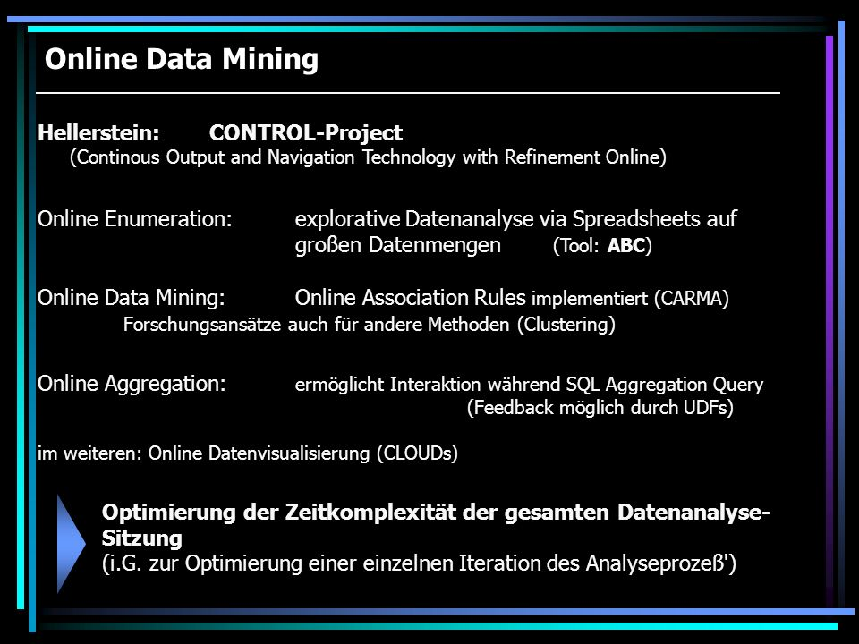 Online Data Mining Hellerstein:CONTROL-Project (Continous Output and Navigation Technology with Refinement Online) Online Data Mining:Online Associati