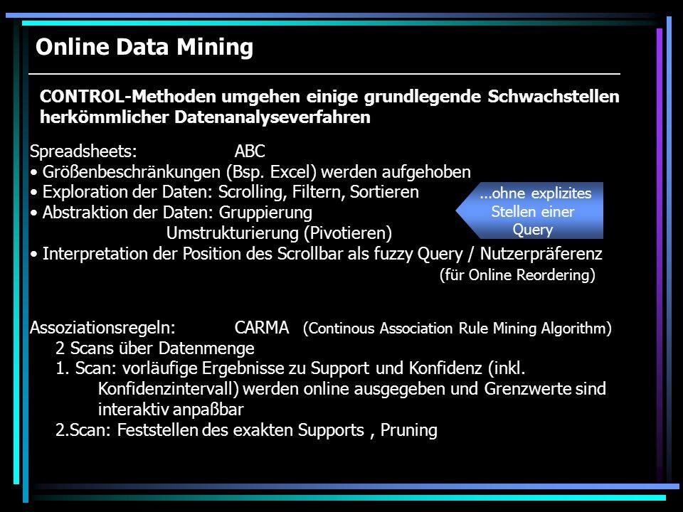 Online Data Mining Assoziationsregeln:CARMA (Continous Association Rule Mining Algorithm) 2 Scans über Datenmenge 1. Scan: vorläufige Ergebnisse zu Su