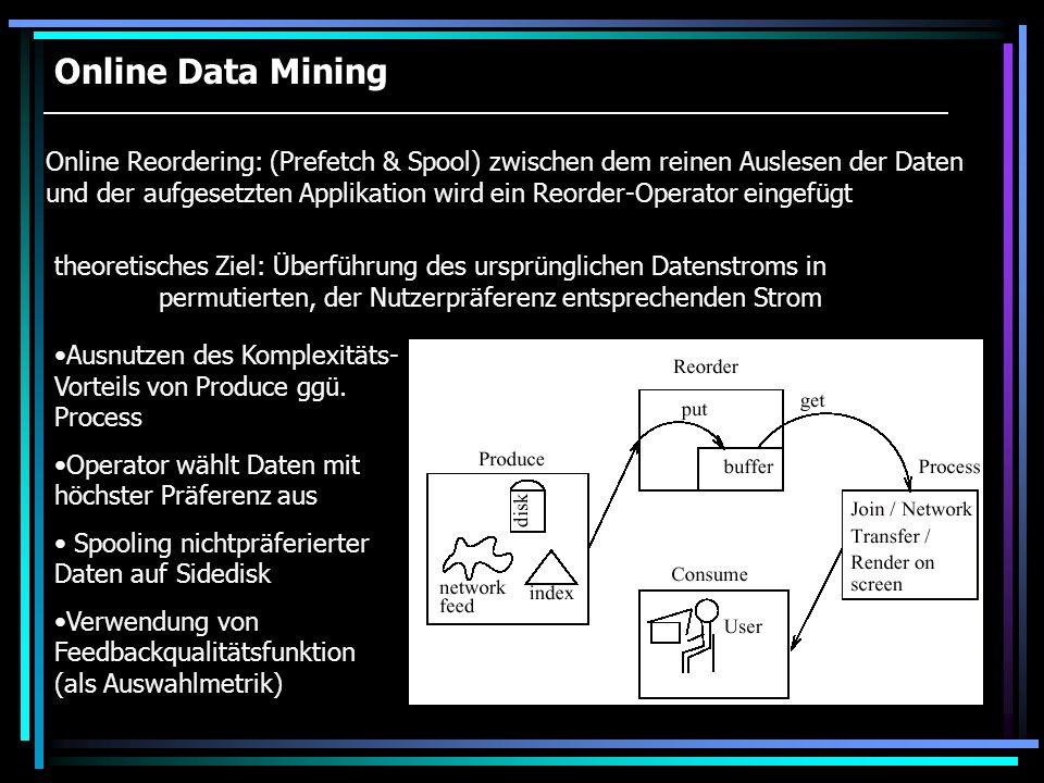 Online Data Mining Online Reordering: (Prefetch & Spool) zwischen dem reinen Auslesen der Daten und der aufgesetzten Applikation wird ein Reorder-Oper