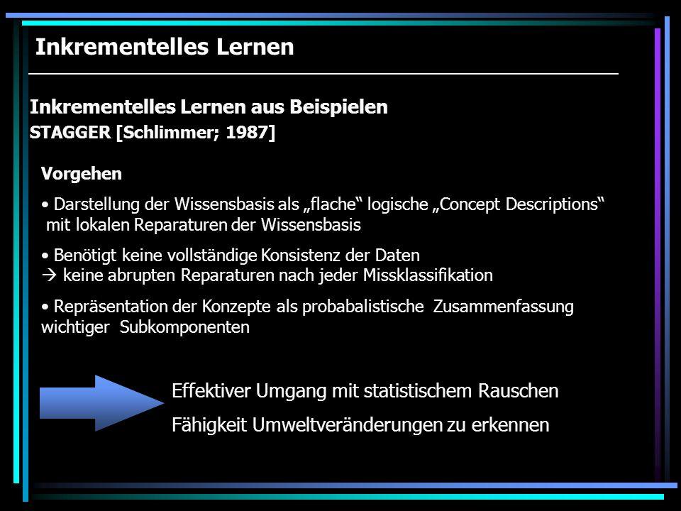 Inkrementelles Lernen Inkrementelles Lernen aus Beispielen ID4 [Fisher; 1986] Vorgehen Weiterentwicklung von CLS Feinere Methode zur Auswahl des best divisive attribute Statt der kompletten Datenbasis, wird nur eine stochastische Zusammenfassung gespeichert Lokale Reparaturen an den Teilbäumen Kritik Keine eigenständige Klassifikation der Daten