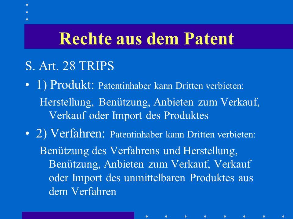 Rechte aus dem Patent S. Art. 28 TRIPS 1) Produkt: Patentinhaber kann Dritten verbieten: Herstellung, Benützung, Anbieten zum Verkauf, Verkauf oder Im