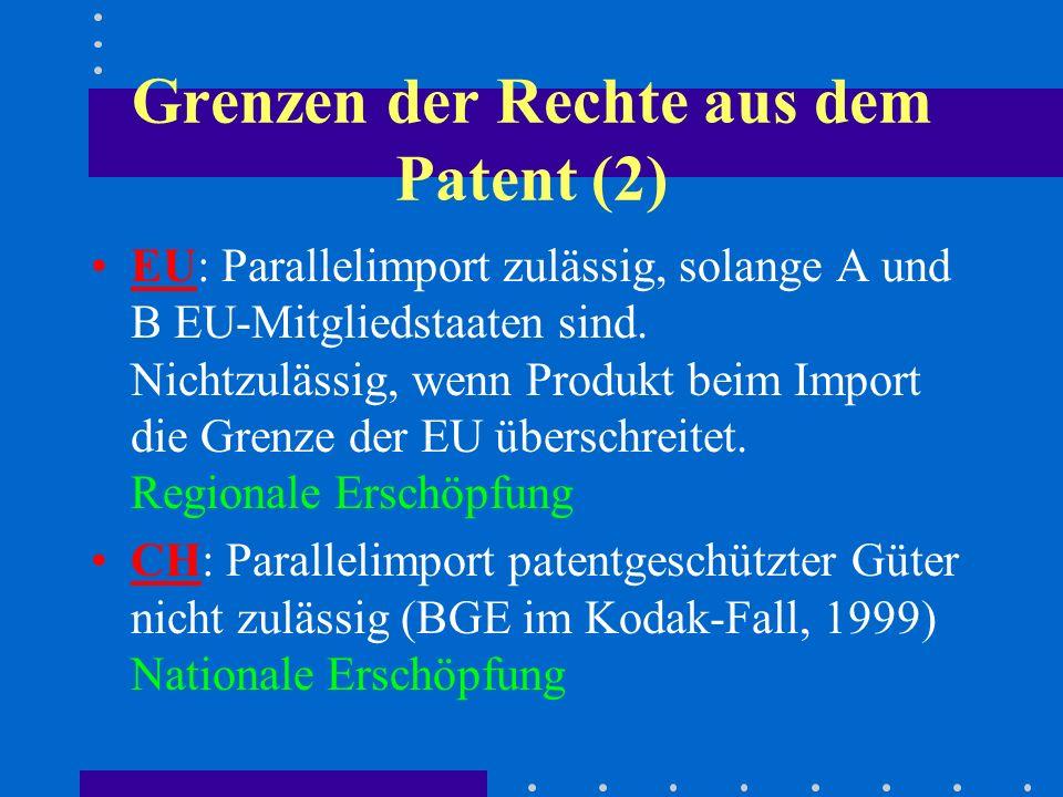 Grenzen der Rechte aus dem Patent (2) EU: Parallelimport zulässig, solange A und B EU-Mitgliedstaaten sind. Nichtzulässig, wenn Produkt beim Import di