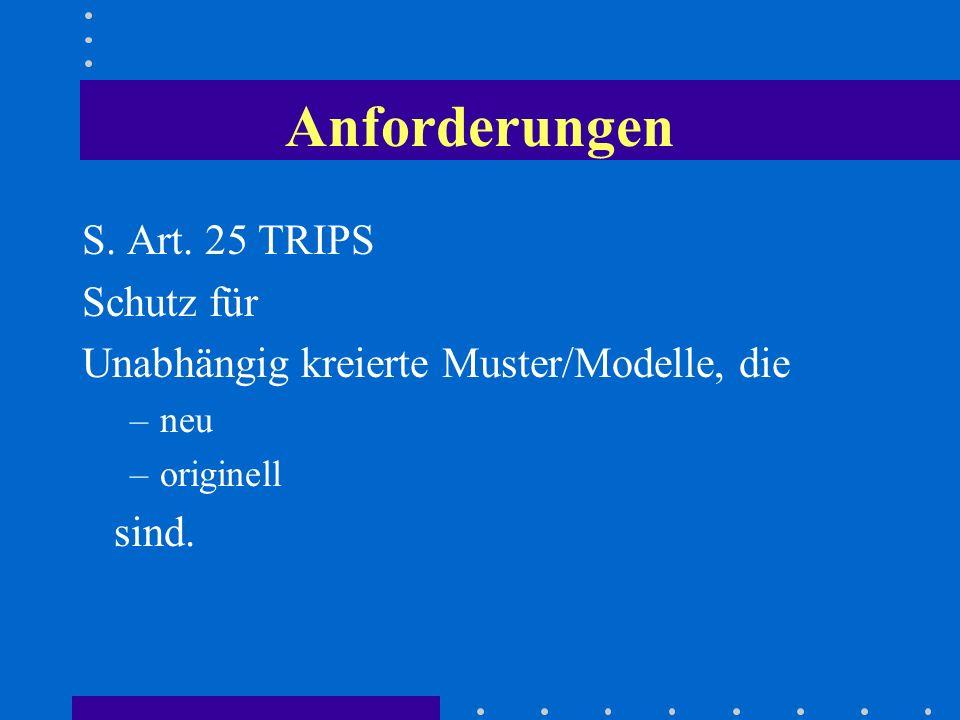 Anforderungen S. Art. 25 TRIPS Schutz für Unabhängig kreierte Muster/Modelle, die –neu –originell sind.