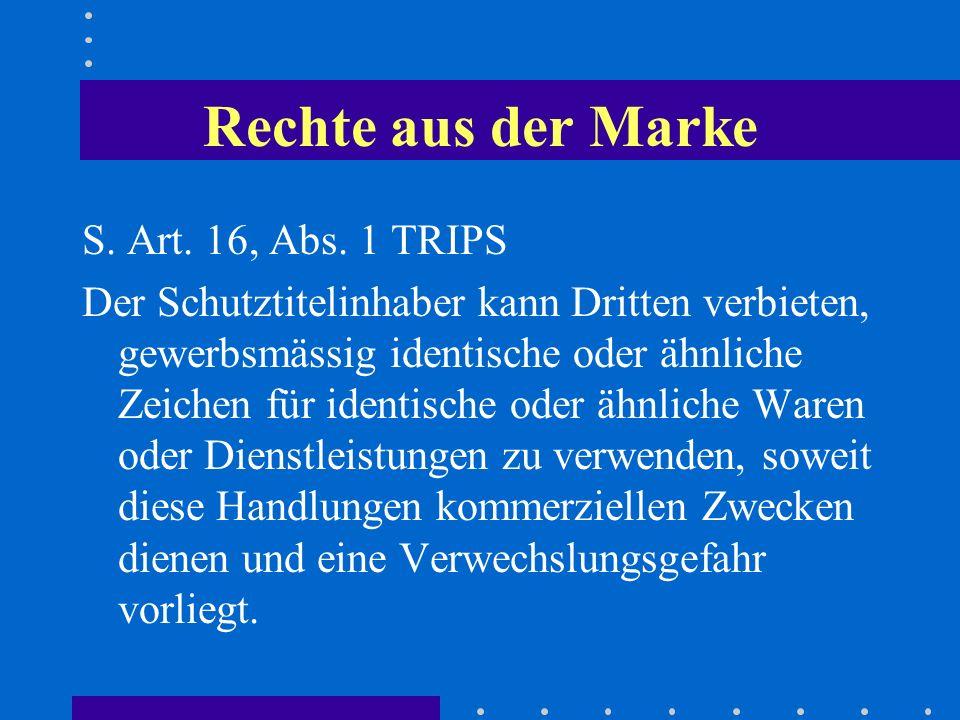 Rechte aus der Marke S. Art. 16, Abs. 1 TRIPS Der Schutztitelinhaber kann Dritten verbieten, gewerbsmässig identische oder ähnliche Zeichen für identi