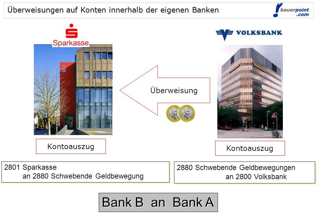 © bauerpoint.com Abhebung 2700 Kassa an 2870 (3170) Barverkehr mit Banken 2700 Kassa an 2870 (3170) Barverkehr mit Banken 2870 (3170) Barverkehr mit B