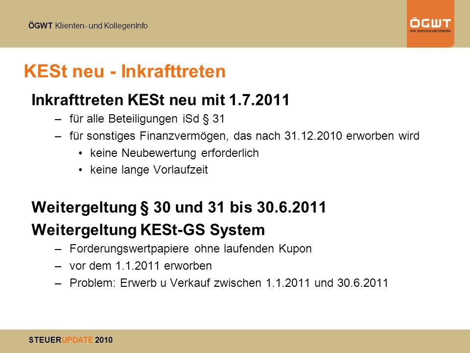 ÖGWT Klienten- und KollegenInfo STEUERUPDATE 2010 KESt neu - Inkrafttreten Inkrafttreten KESt neu mit 1.7.2011 –für alle Beteiligungen iSd § 31 –für s