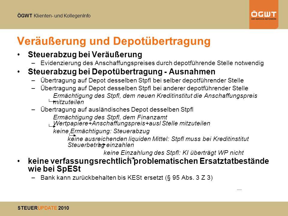ÖGWT Klienten- und KollegenInfo STEUERUPDATE 2010 Veräußerung und Depotübertragung Steuerabzug bei Veräußerung –Evidenzierung des Anschaffungspreises