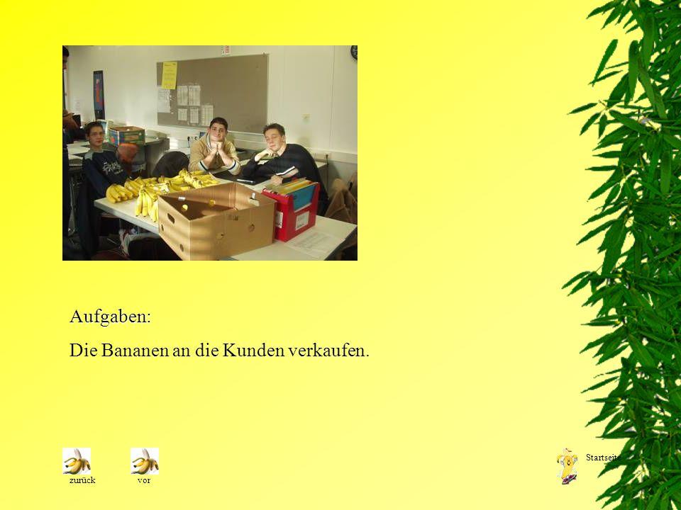 Aufgaben: Die Bananen an die Kunden verkaufen. zurückvor Startseite