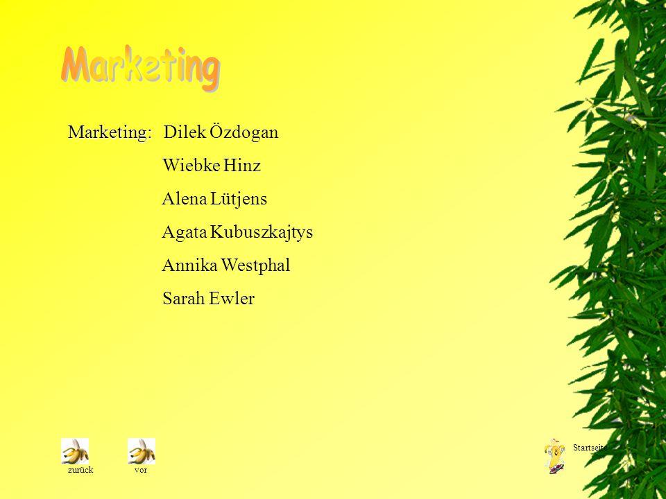 Marketing: Marketing: Dilek Özdogan Wiebke Hinz Alena Lütjens Agata Kubuszkajtys Annika Westphal Sarah Ewler zurückvor Startseite