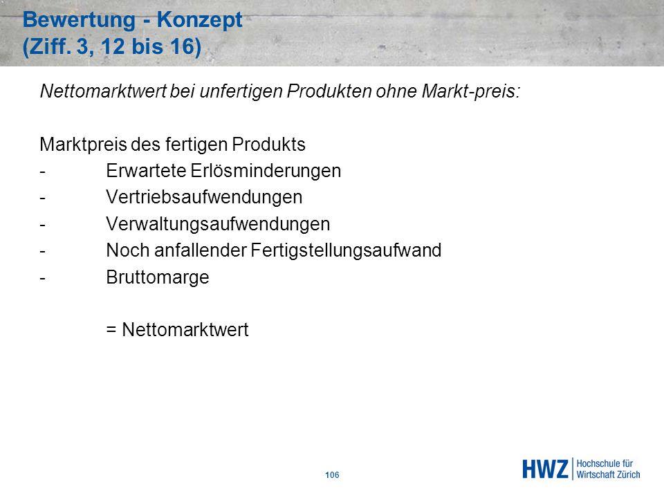 Bewertung - Konzept (Ziff. 3, 12 bis 16) 106 Nettomarktwert bei unfertigen Produkten ohne Markt-preis: Marktpreis des fertigen Produkts -Erwartete Erl