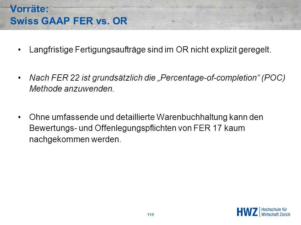 Vorräte: Swiss GAAP FER vs. OR 119 Langfristige Fertigungsaufträge sind im OR nicht explizit geregelt. Nach FER 22 ist grundsätzlich die Percentage-of