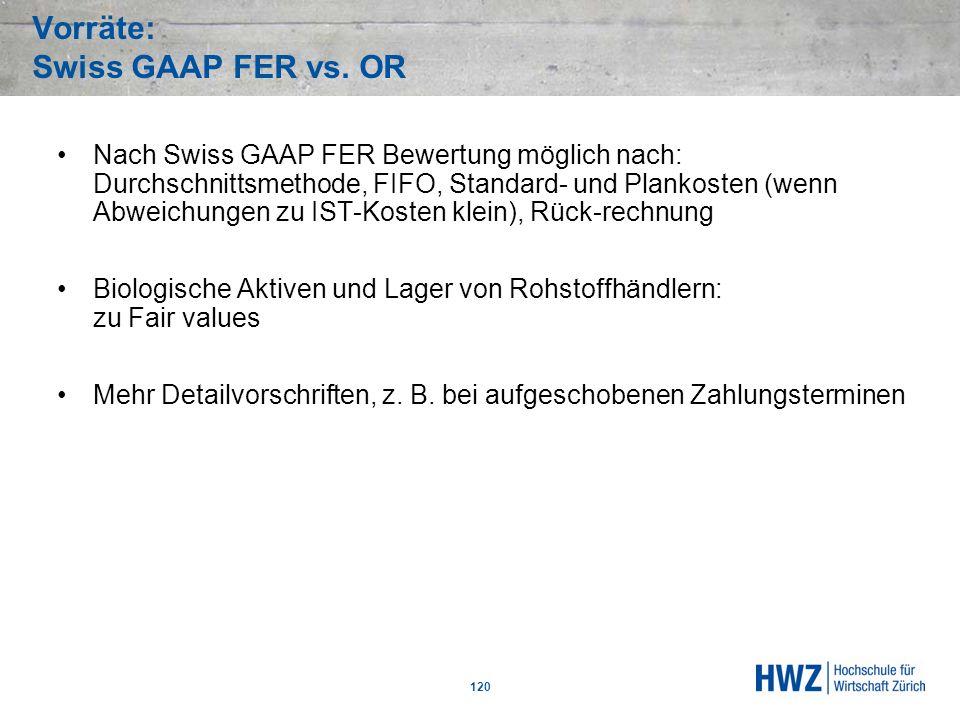 Vorräte: Swiss GAAP FER vs. OR 120 Nach Swiss GAAP FER Bewertung möglich nach: Durchschnittsmethode, FIFO, Standard- und Plankosten (wenn Abweichungen