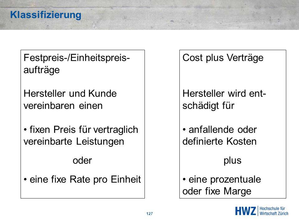 Klassifizierung 127 Festpreis-/Einheitspreis- aufträge Hersteller und Kunde vereinbaren einen fixen Preis für vertraglich vereinbarte Leistungen oder