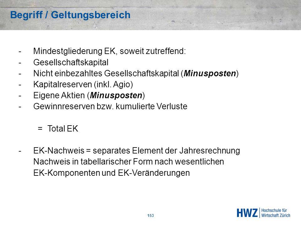 Begriff / Geltungsbereich 153 -Mindestgliederung EK, soweit zutreffend: -Gesellschaftskapital -Nicht einbezahltes Gesellschaftskapital (Minusposten) -
