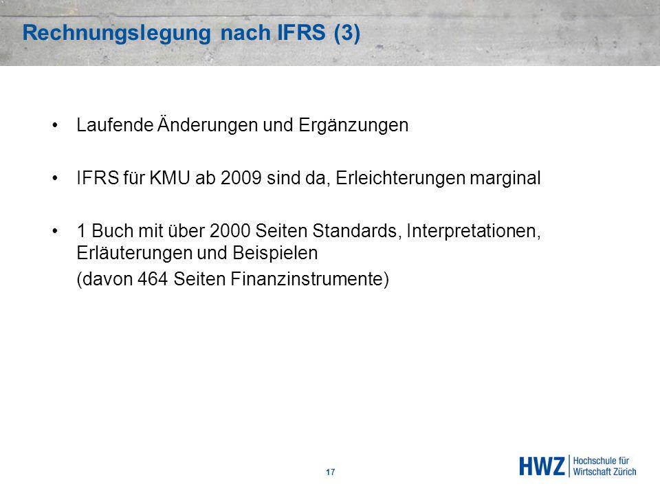Rechnungslegung nach IFRS (3) 17 Laufende Änderungen und Ergänzungen IFRS für KMU ab 2009 sind da, Erleichterungen marginal 1 Buch mit über 2000 Seite