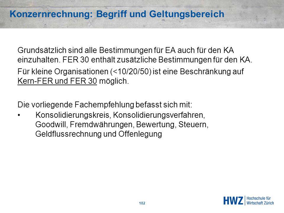 Konzernrechnung: Begriff und Geltungsbereich 182 Grundsätzlich sind alle Bestimmungen für EA auch für den KA einzuhalten. FER 30 enthält zusätzliche B