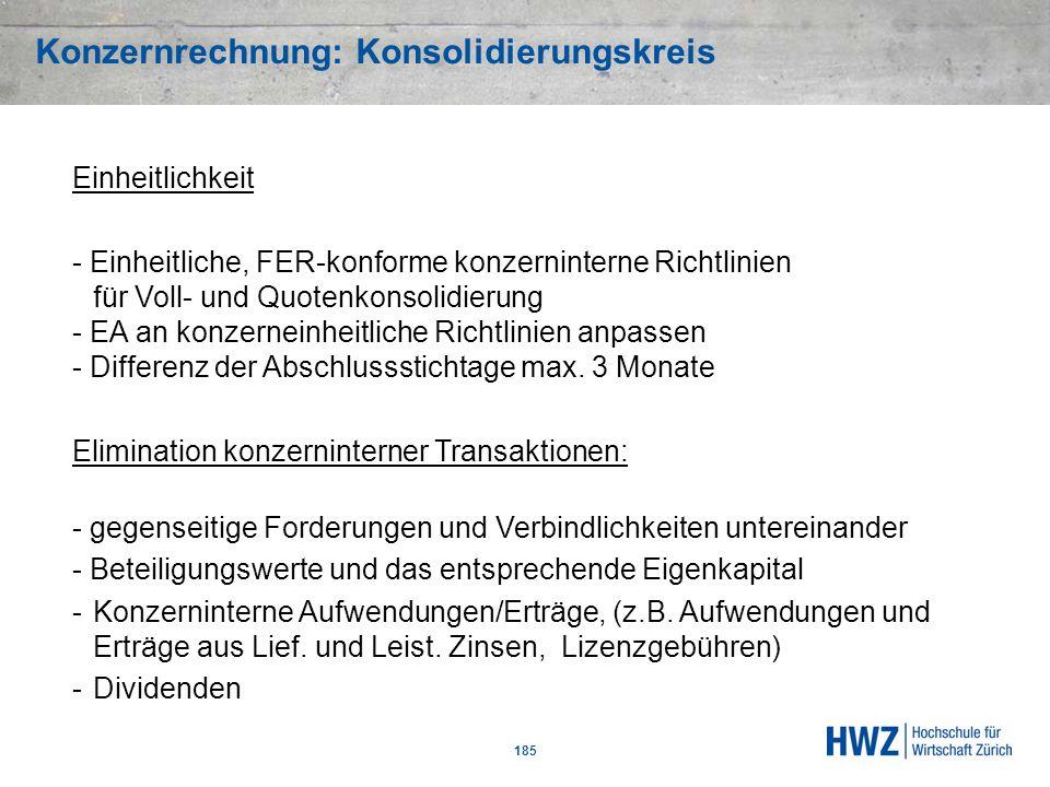 Konzernrechnung: Konsolidierungskreis 185 Einheitlichkeit - Einheitliche, FER-konforme konzerninterne Richtlinien für Voll- und Quotenkonsolidierung -