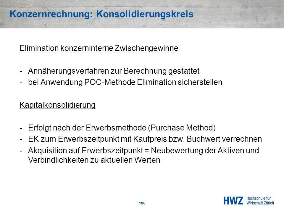Konzernrechnung: Konsolidierungskreis 186 Elimination konzerninterne Zwischengewinne -Annäherungsverfahren zur Berechnung gestattet -bei Anwendung POC