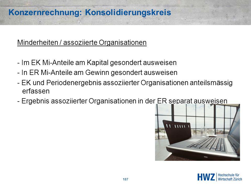 Konzernrechnung: Konsolidierungskreis 187 Minderheiten / assoziierte Organisationen - Im EK Mi-Anteile am Kapital gesondert ausweisen - In ER Mi-Antei