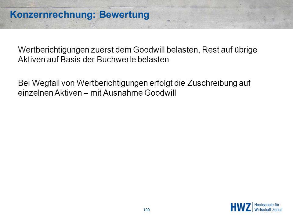 Konzernrechnung: Bewertung 190 Wertberichtigungen zuerst dem Goodwill belasten, Rest auf übrige Aktiven auf Basis der Buchwerte belasten Bei Wegfall v