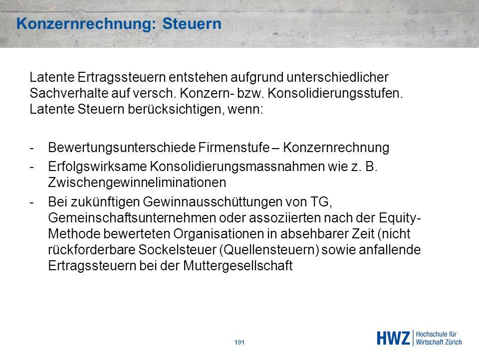 Konzernrechnung: Steuern 191 Latente Ertragssteuern entstehen aufgrund unterschiedlicher Sachverhalte auf versch. Konzern- bzw. Konsolidierungsstufen.
