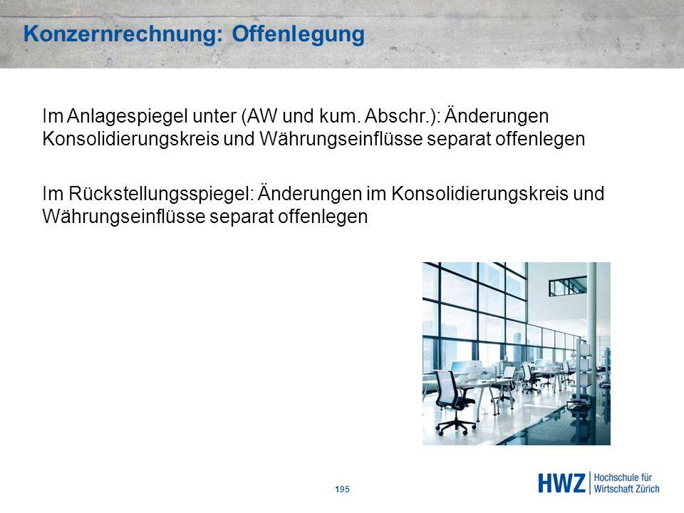 Konzernrechnung: Offenlegung 195 Im Anlagespiegel unter (AW und kum. Abschr.): Änderungen Konsolidierungskreis und Währungseinflüsse separat offenlege