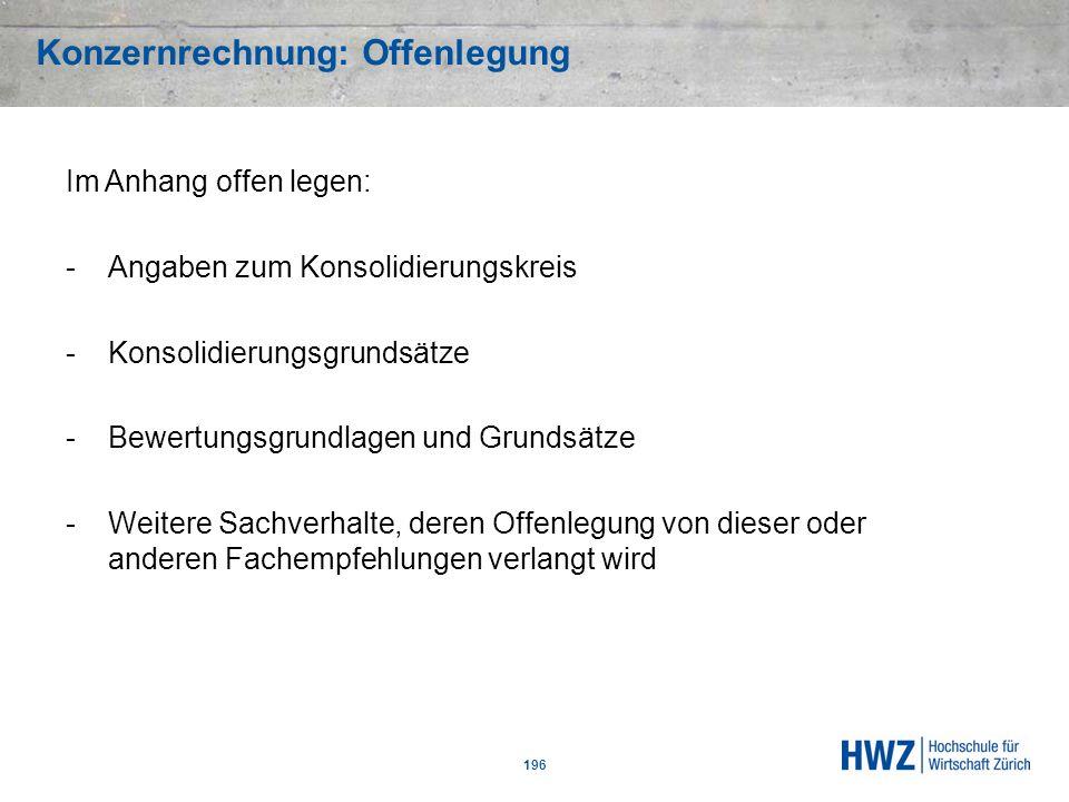 Konzernrechnung: Offenlegung 196 Im Anhang offen legen: -Angaben zum Konsolidierungskreis -Konsolidierungsgrundsätze -Bewertungsgrundlagen und Grundsä