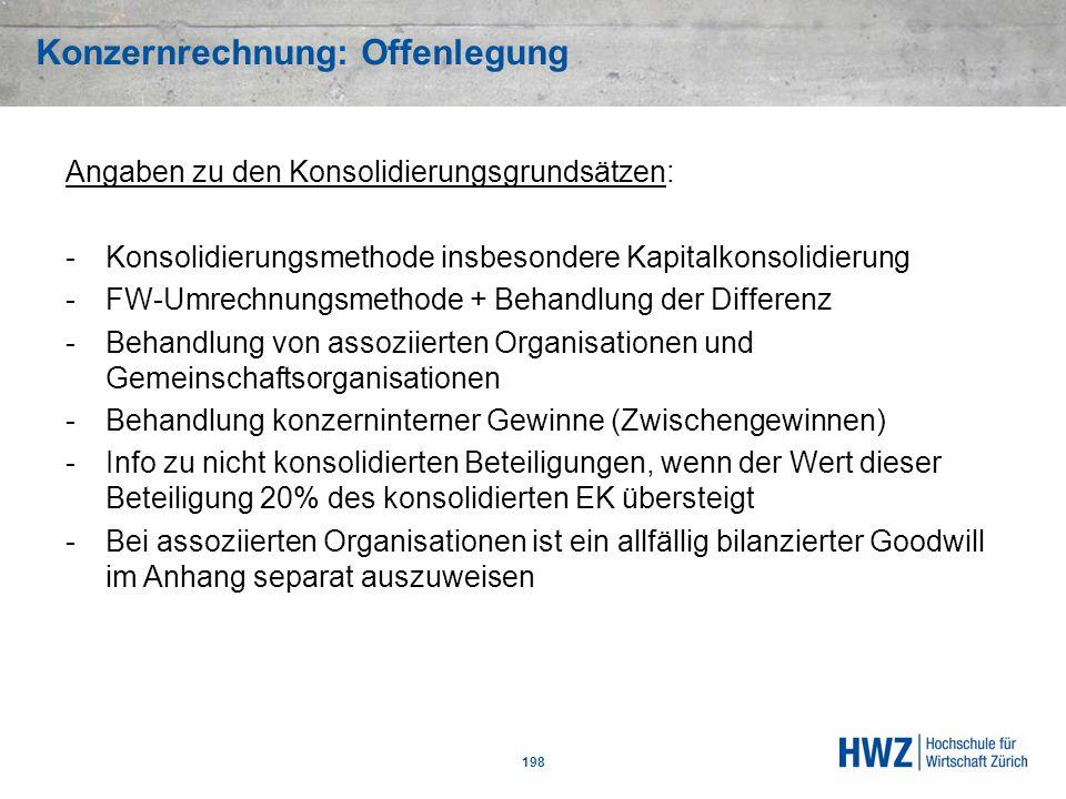 Konzernrechnung: Offenlegung 198 Angaben zu den Konsolidierungsgrundsätzen: -Konsolidierungsmethode insbesondere Kapitalkonsolidierung -FW-Umrechnungs