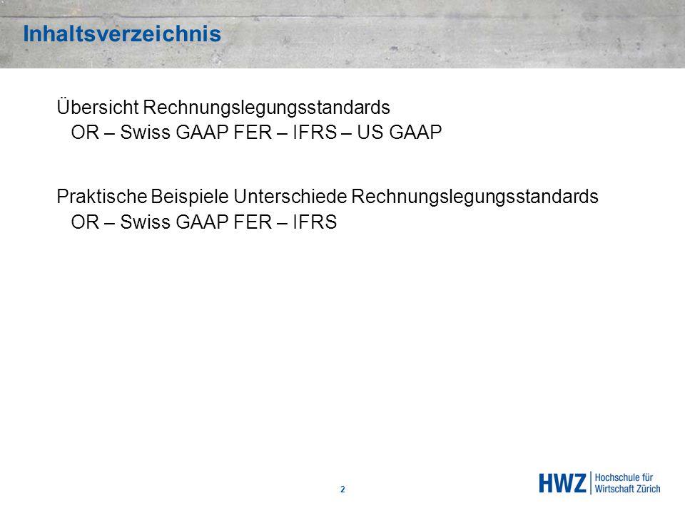 Inhaltsverzeichnis Übersicht Rechnungslegungsstandards OR – Swiss GAAP FER – IFRS – US GAAP Praktische Beispiele Unterschiede Rechnungslegungsstandard