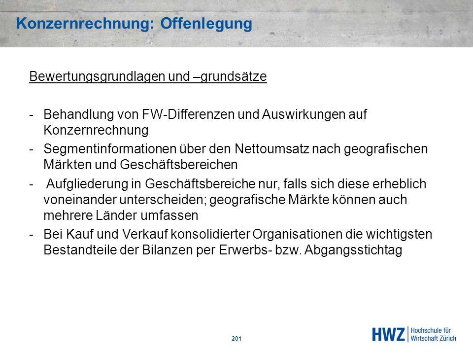 Konzernrechnung: Offenlegung 201 Bewertungsgrundlagen und –grundsätze -Behandlung von FW-Differenzen und Auswirkungen auf Konzernrechnung -Segmentinfo