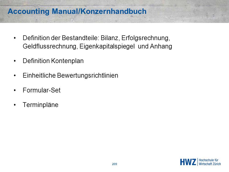 Accounting Manual/Konzernhandbuch 209 Definition der Bestandteile: Bilanz, Erfolgsrechnung, Geldflussrechnung, Eigenkapitalspiegel und Anhang Definiti
