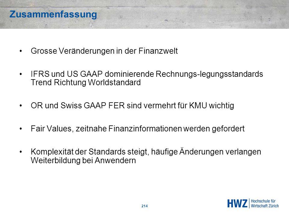 Zusammenfassung 214 Grosse Veränderungen in der Finanzwelt IFRS und US GAAP dominierende Rechnungs-legungsstandards Trend Richtung Worldstandard OR un