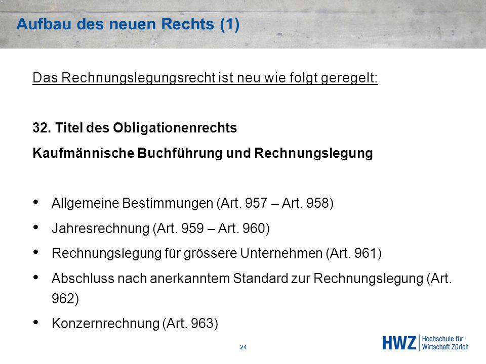 Aufbau des neuen Rechts (1) 24 Das Rechnungslegungsrecht ist neu wie folgt geregelt: 32. Titel des Obligationenrechts Kaufmännische Buchführung und Re