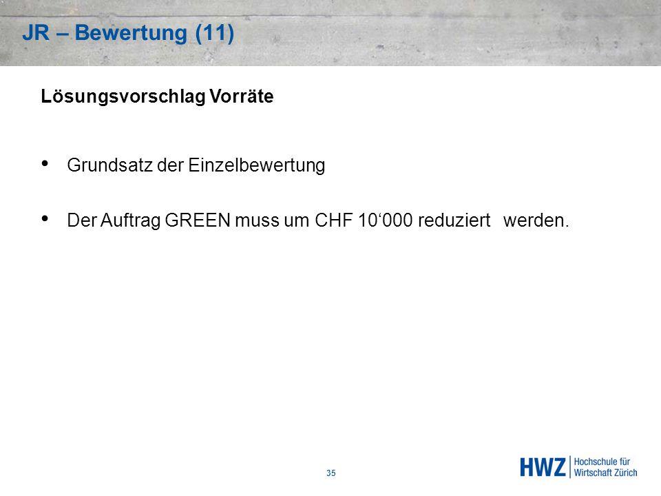 Lösungsvorschlag Vorräte Grundsatz der Einzelbewertung Der Auftrag GREEN muss um CHF 10000 reduziert werden. JR – Bewertung (11) 35