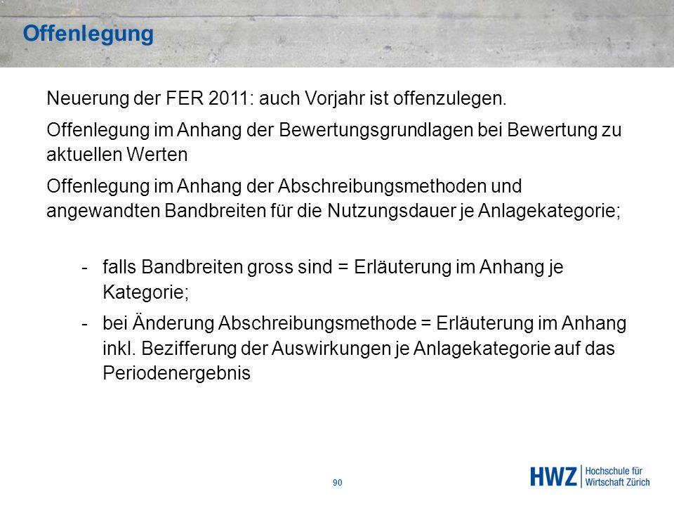 Offenlegung 90 Neuerung der FER 2011: auch Vorjahr ist offenzulegen. Offenlegung im Anhang der Bewertungsgrundlagen bei Bewertung zu aktuellen Werten