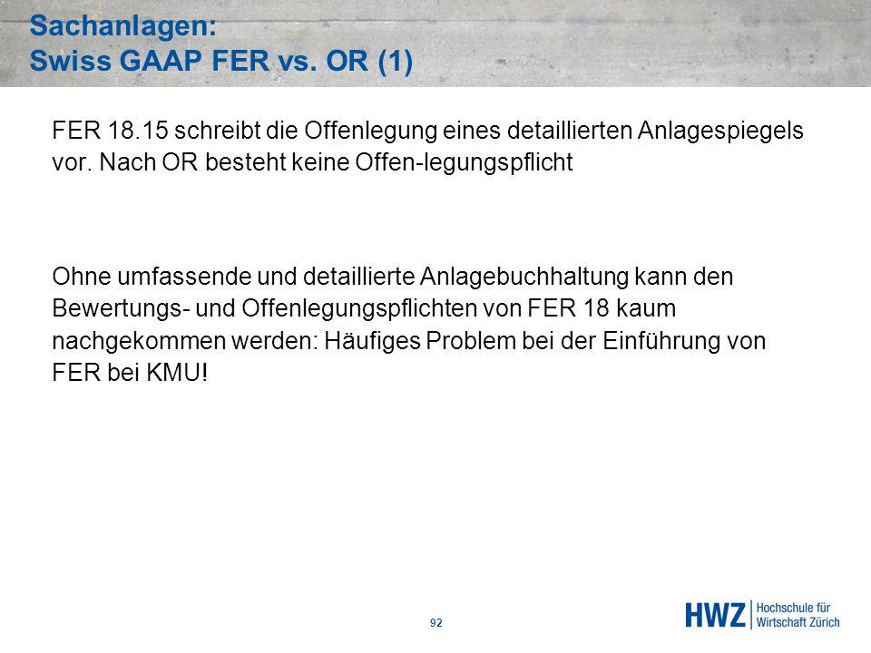 Sachanlagen: Swiss GAAP FER vs. OR (1) 92 FER 18.15 schreibt die Offenlegung eines detaillierten Anlagespiegels vor. Nach OR besteht keine Offen-legun