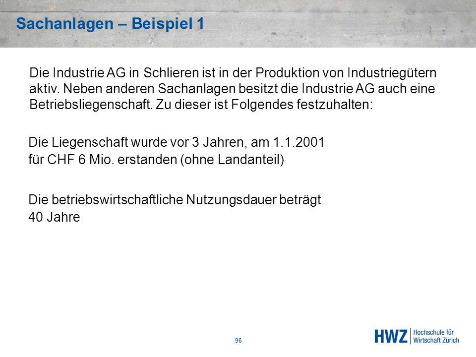 Sachanlagen – Beispiel 1 96 Die Liegenschaft wurde vor 3 Jahren, am 1.1.2001 für CHF 6 Mio. erstanden (ohne Landanteil) Die betriebswirtschaftliche Nu