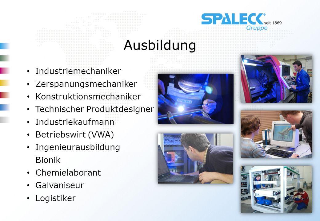 Industriemechaniker Zerspanungsmechaniker Konstruktionsmechaniker Technischer Produktdesigner Industriekaufmann Betriebswirt (VWA) Ingenieurausbildung