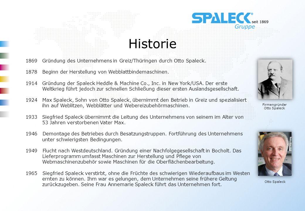 Historie Firmengründer Otto Spaleck Otto Spaleck 1869Gründung des Unternehmens in Greiz/Thüringen durch Otto Spaleck. 1878Beginn der Herstellung von W