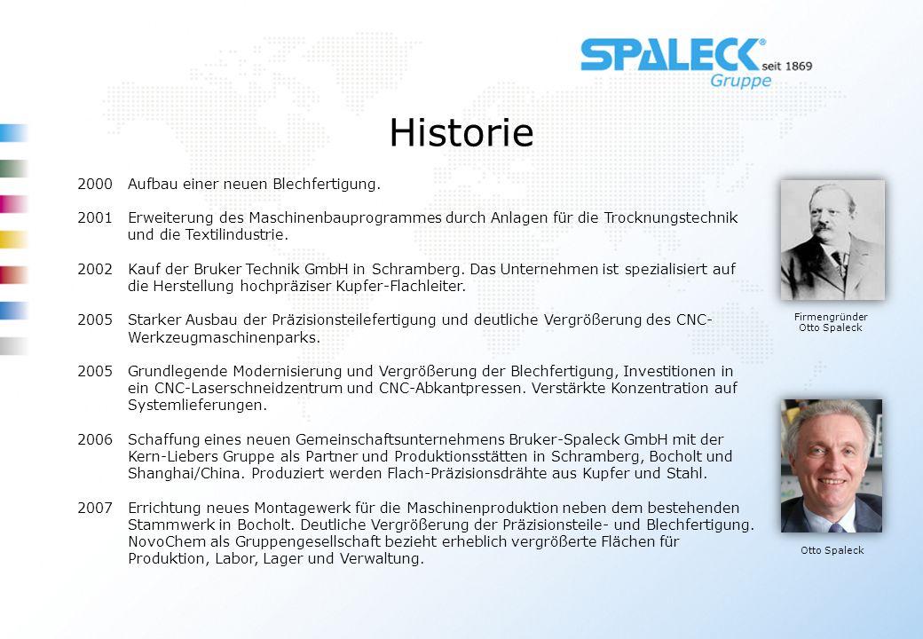 Historie Firmengründer Otto Spaleck Otto Spaleck 2000Aufbau einer neuen Blechfertigung. 2001Erweiterung des Maschinenbauprogrammes durch Anlagen für d